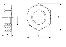 Гайка шестигранная низкая (с фаской)